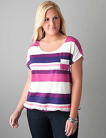 Drawstring hem dolman tee by Lane Bryant