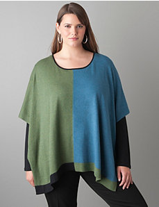 Colorblock poncho by Lane Bryant