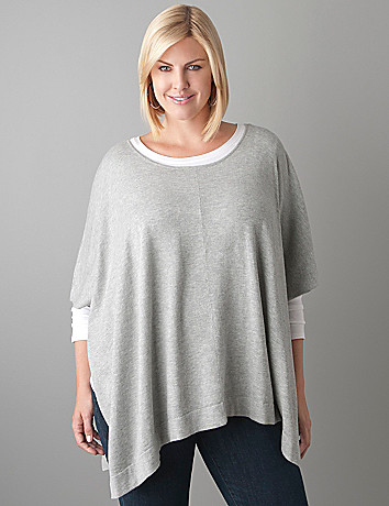 Scoop neck poncho by Lane Bryant