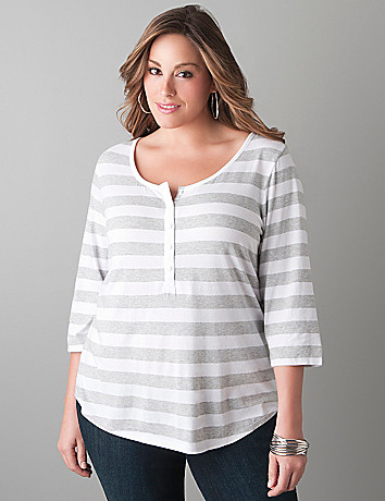 Mixed stripe henley top by Lane Bryant