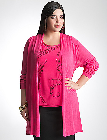 Full Figure Draped Open Cardigan by Lane Bryant