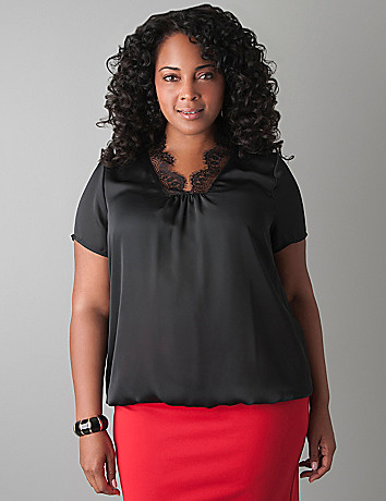 Scalloped lace blouse by Lane Bryant