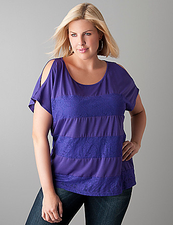 Lace inset cold shoulder top by Lane Bryant