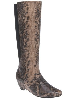 Snakeskin wedge boot