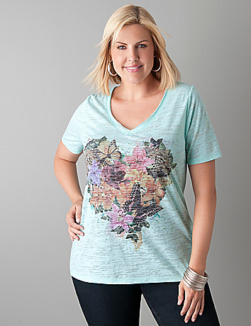 Heart graphic burnout tee by Lane Bryant