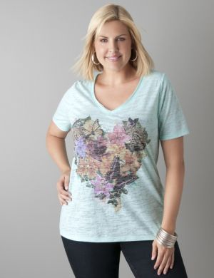 Heart graphic burnout tee