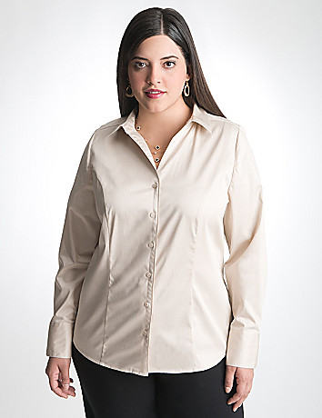 Cotton sateen shirt by Lane Bryant