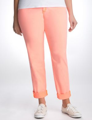 Neon rolled cuff skinny pant