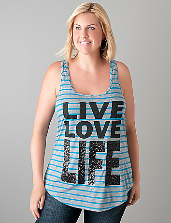 Live Love Life sequin tank  by Lane Bryant