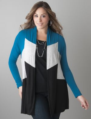 Colorblock open cardigan