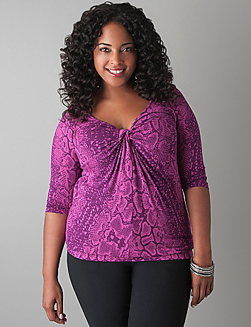 Twist front python top by Lane Bryant