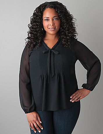 Pintuck tie blouse by Lane Bryant