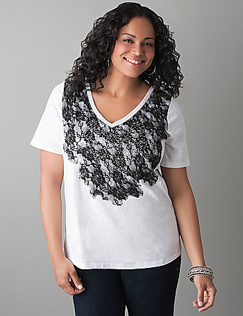 Studded lace print tee by Lane Bryant