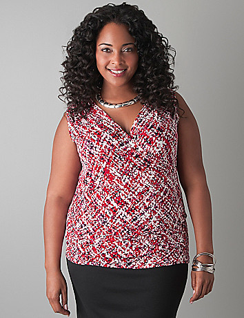 Tweed print sleeveless top by Lane Bryant