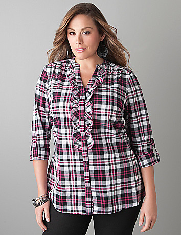 Ruffled plaid shirt by Lane Bryant