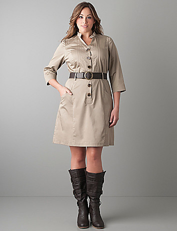 Shirt dress with woven belt by Lane Bryant