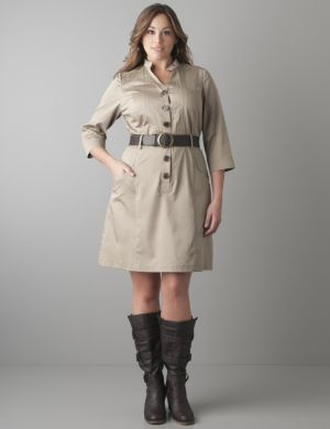 Shirt dress with woven belt