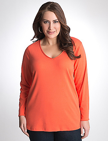 Long sleeve V-neck tee by Lane Bryant