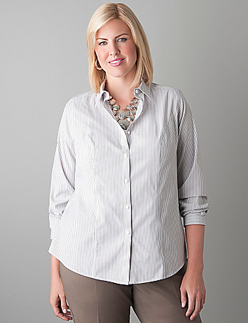Striped non iron shirt by Lane Bryant