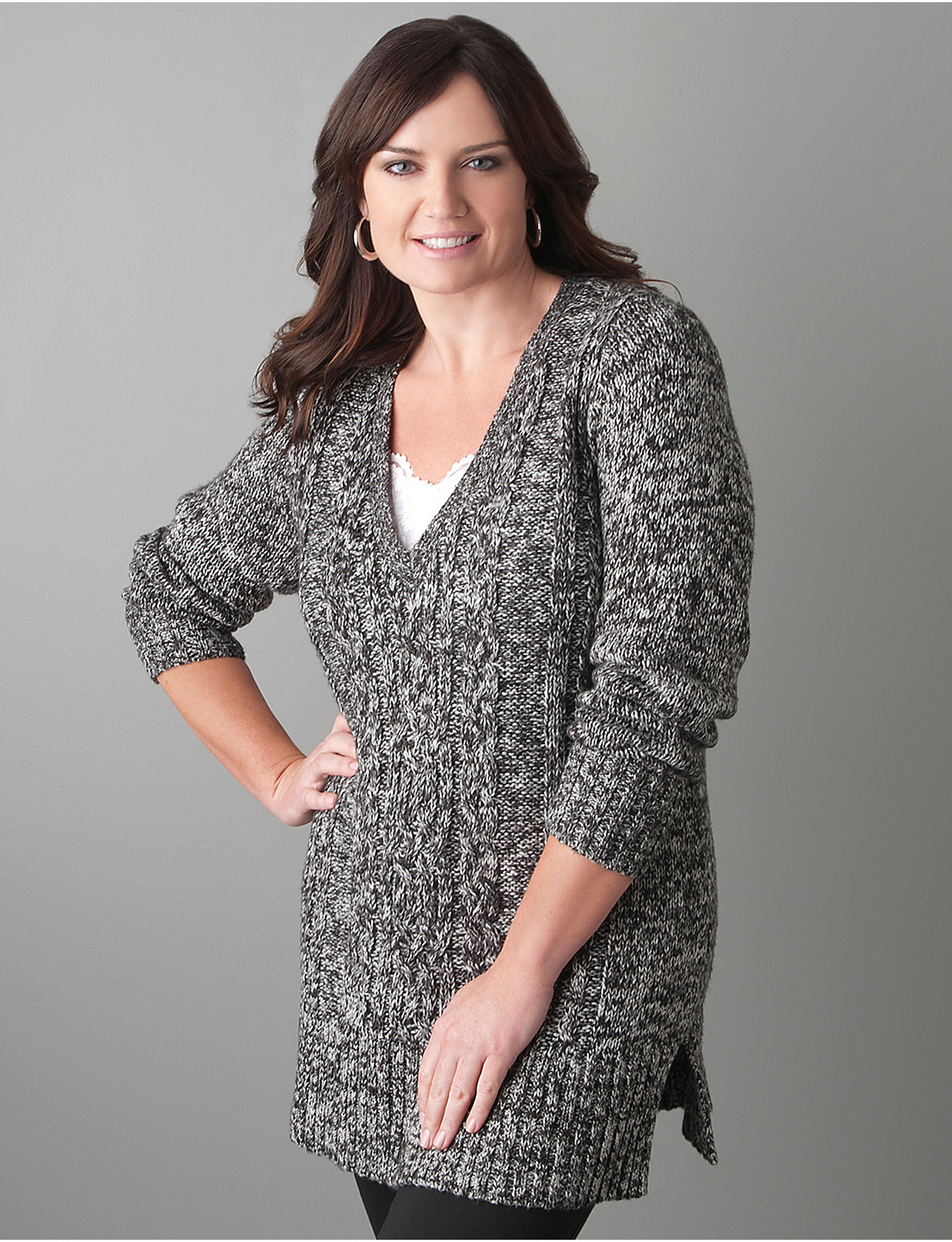 Full Figure Cable knit sweater tunic | Lane Bryant