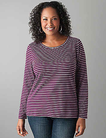 Plus Size Striped Long Sleeve Tee by Lane Bryant