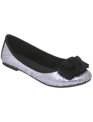 Glitter ballet flat with bow
