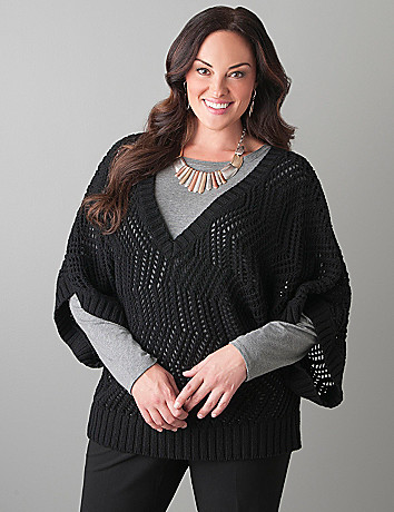 Open stitch pullover sweater by Lane Bryant
