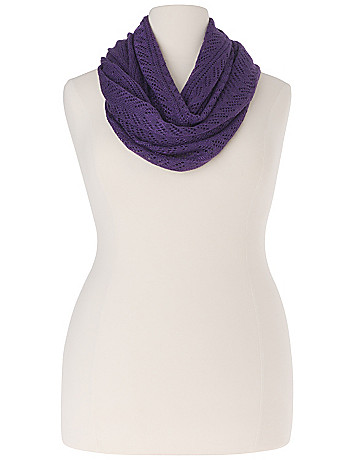 Lurex pointelle infinity scarf by Lane Bryant
