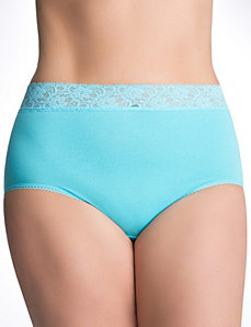 Sassy lace waist cotton brief panty by Cacique