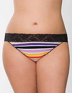 Sassy lace waist cotton string bikini by Cacique