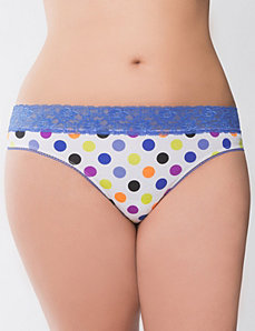 White multi dot lace waist thong