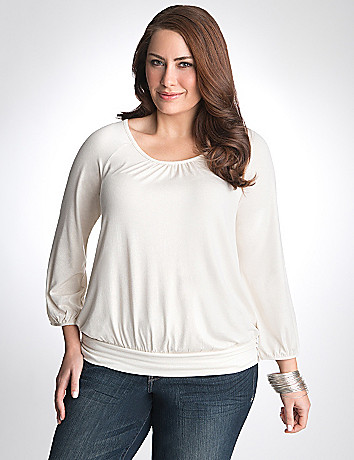 Plus Size Metallic Peasant Top by Lane Bryant