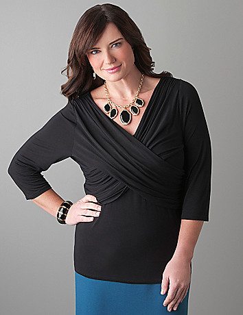 Full Figure V Neck Cross Front Top with T3