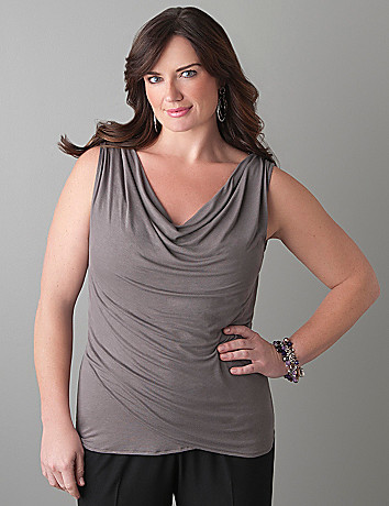 Plus Size Slimming Drape Neck Tank by Lane Bryant