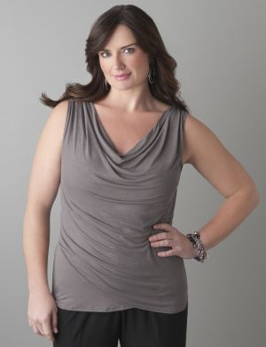 Draped neck tank with Tighter Tummy Technology