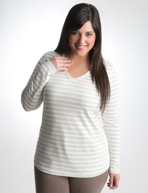 Shimmer stripe long sleeve tee
