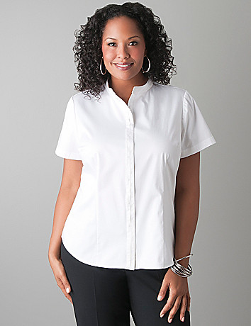 Hidden placket short sleeve shirt by Lane Bryant