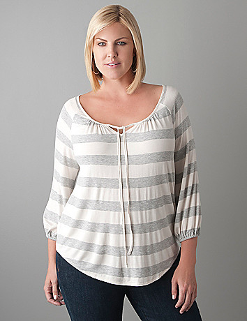 Plus Size Striped Peasant Top by Lane Bryant