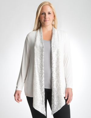 Sequin trim knit cardigan
