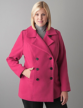 Pink Coat Plus Size