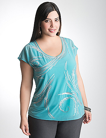 Plus Size Mesh Sequin Top by Lane Bryant
