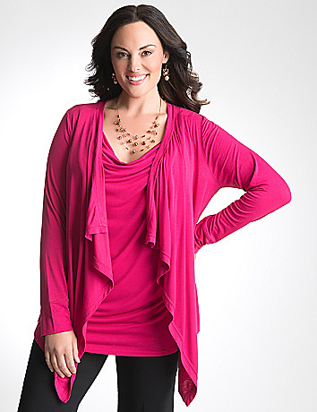 Drape front knit cardigan by Lane Bryant