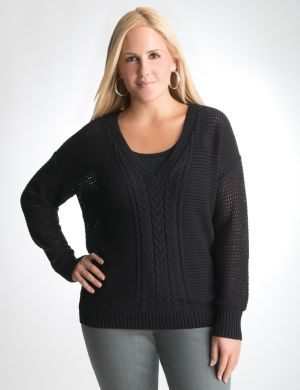 V-neck cable knit dolman sweater