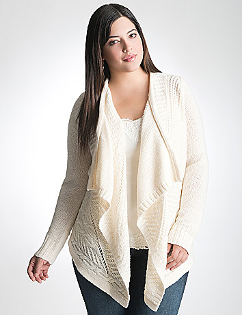 Plus Size Cable Knit Cardigan by Lane Bryant