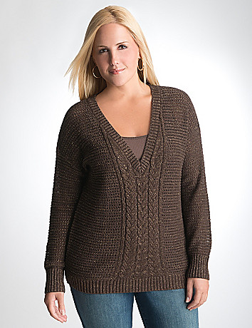 V-neck dolman sweater