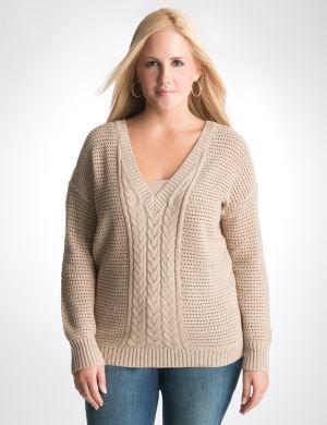 Shimmering dolman V-neck sweater