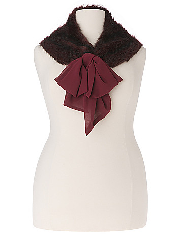 Lane Collection chiffon & fur scarf