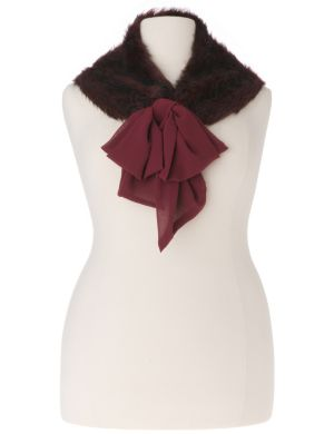 Lane Collection chiffon & fur collar scarf