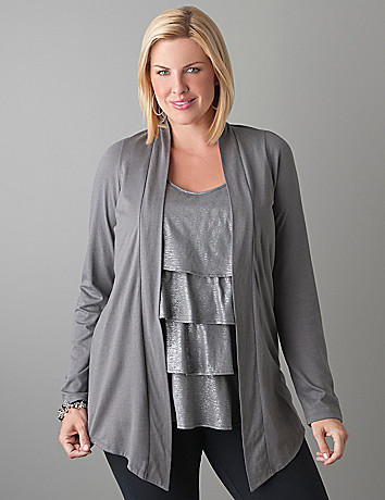 Tiered metallic tank with cardi by Lane Bryant