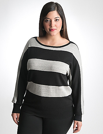 Plus Size Sparkle Stripe Dolman Sweater by Lane Bryant